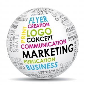 Globus med temaer om markedsføring